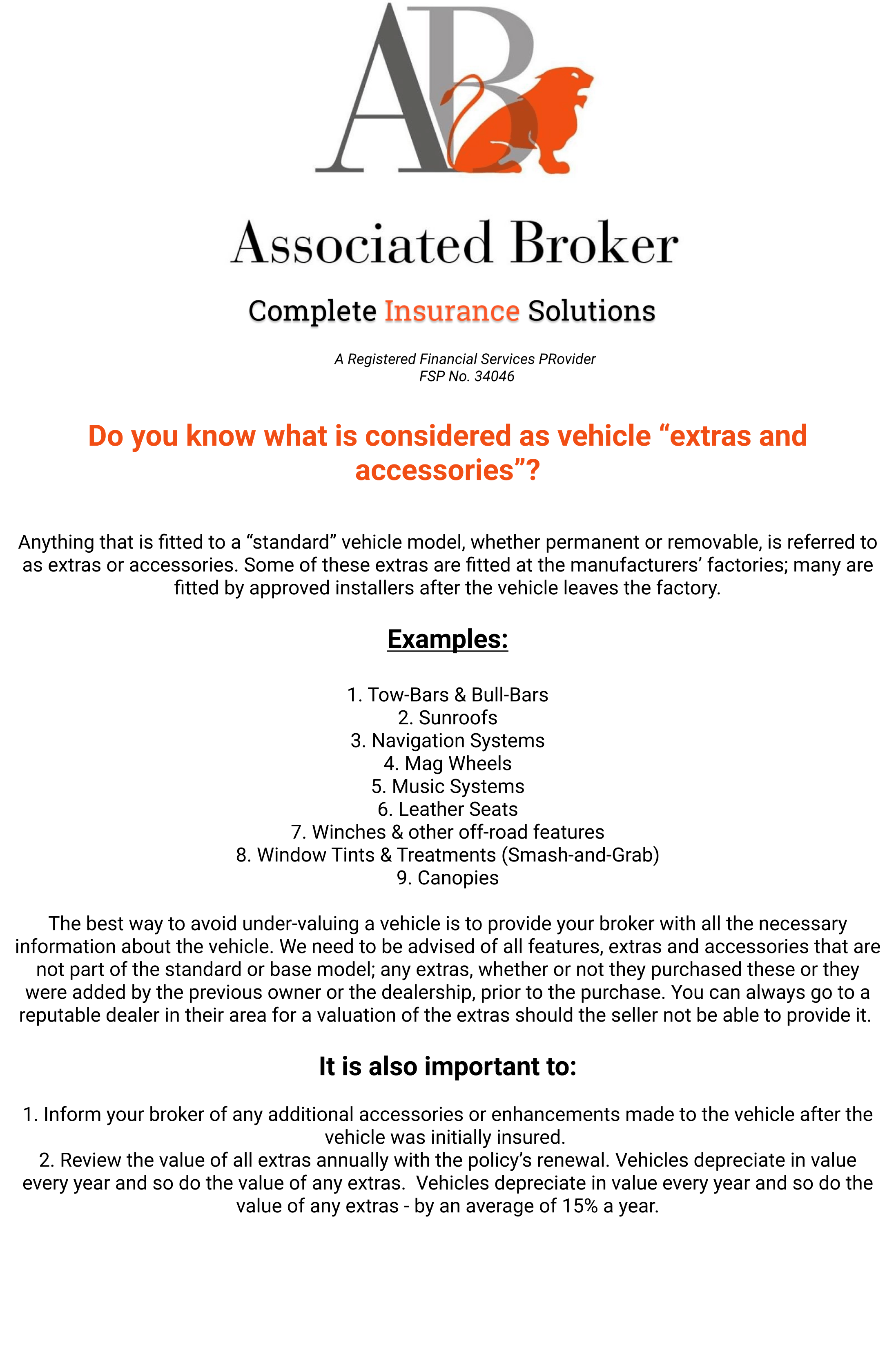 Vehicle Insurance extras and accessories